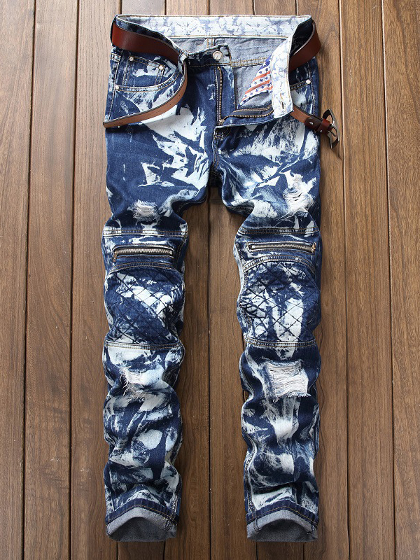 Stylish Ruched Zipper Printed Blue Jeans