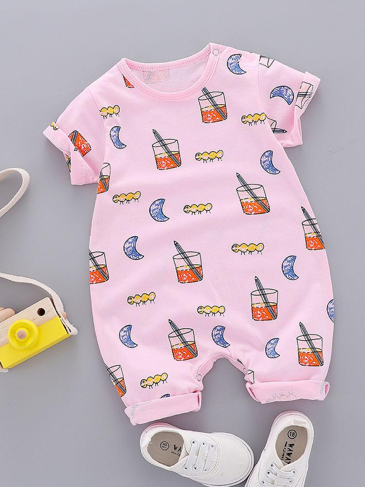 Summer Printed Short Sleeve Baby Jumpsuit