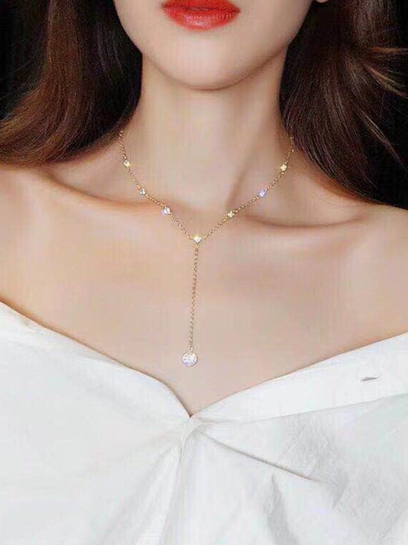 Ins Hot Sale Chain Rhinestone Decor Necklace