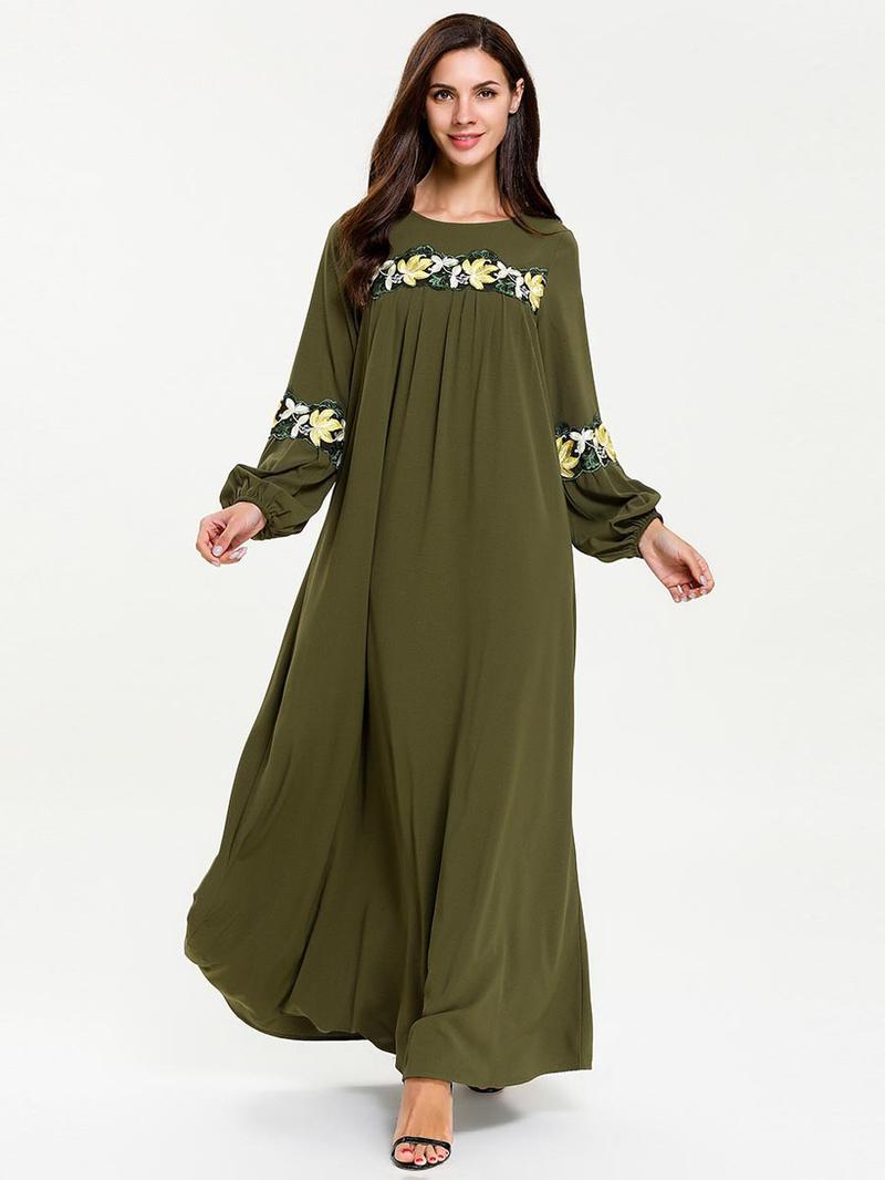Crew Neck Embroidery Long Sleeve Maxi Dress