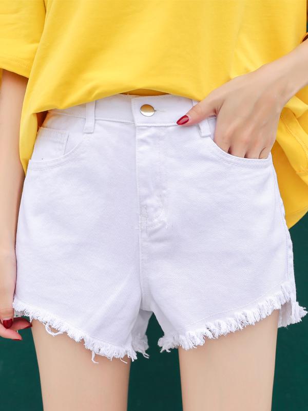 Summer Tassels Solid Color Shorts