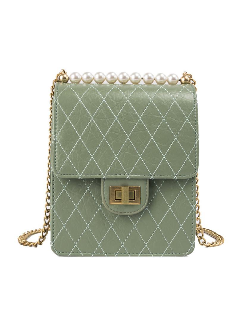Geometric Pearls Chain Square Shoulder Bag