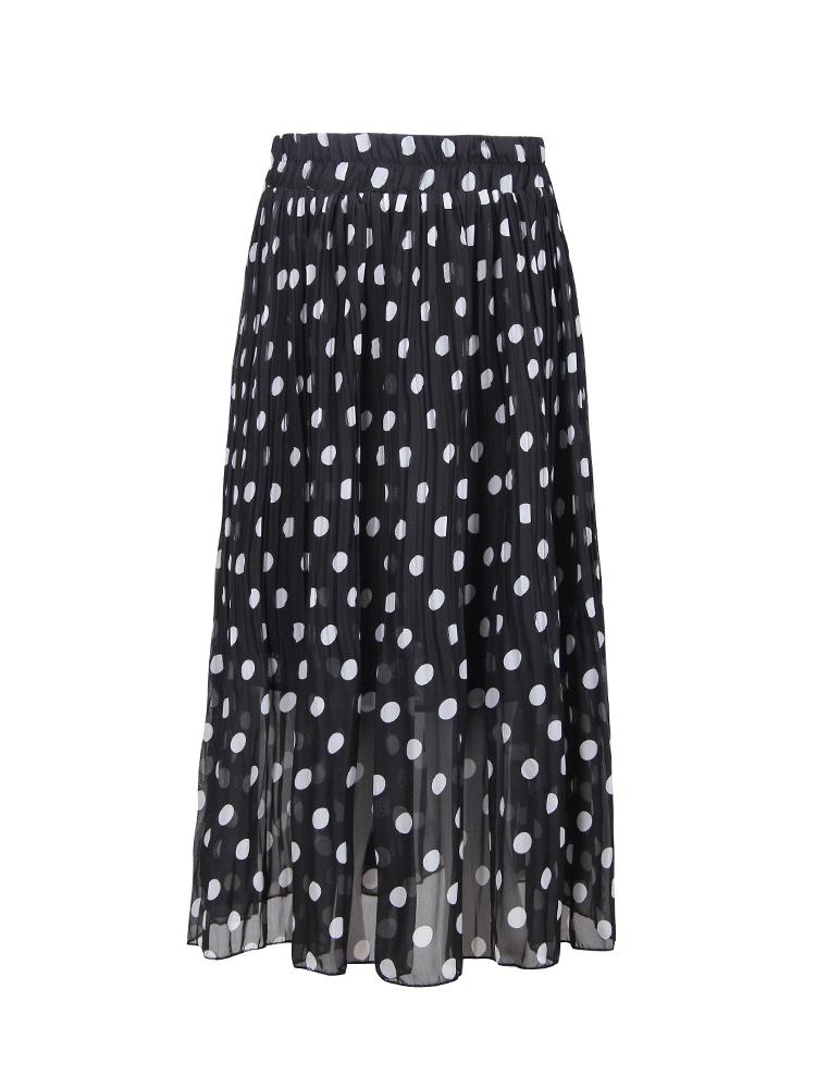 Summer Chiffon Dot Printed Causal Skirt