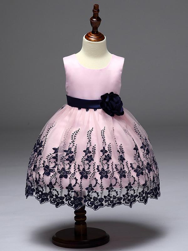 Flower Embroidered Girl Blush Sleeveless Dress