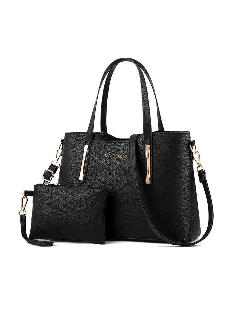 Fashion Large Capacity Solid 2 Piece Handbag