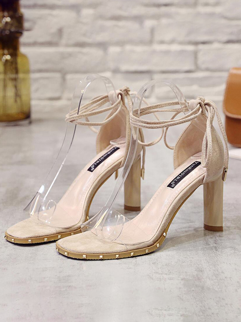Fashion Rivets PVC Lace Up Heeled Sandals