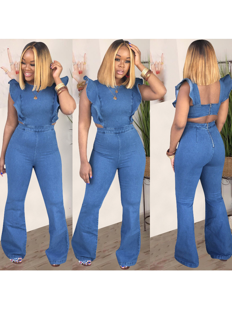 Crew Neck Backless Ruffled Denim Jumpsuit