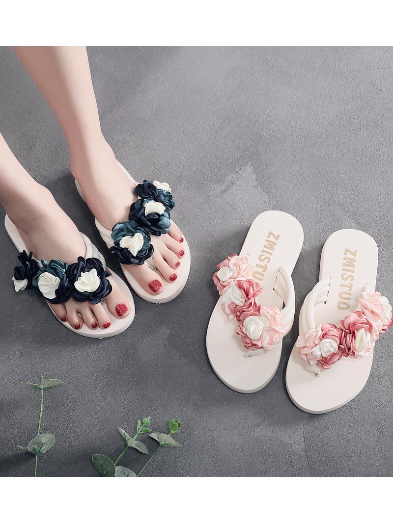 Summer Contrast Color Flower Patchwork Women Slippers