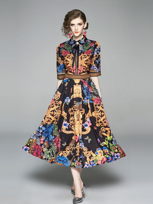 Royal Court Print Half Sleeve Midi Dresses