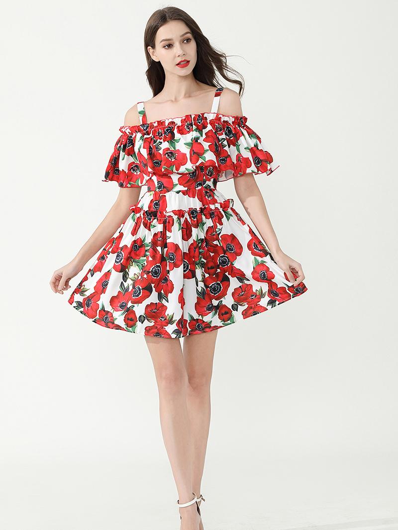Cold Shoulder Red Flower Ruffles Strap Dress
