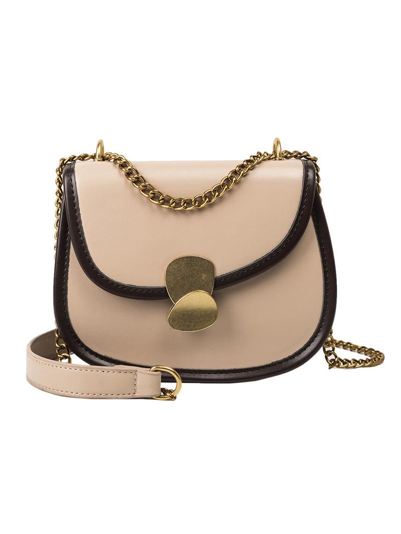 Contrast Color Detail Hasp Saddle Bag