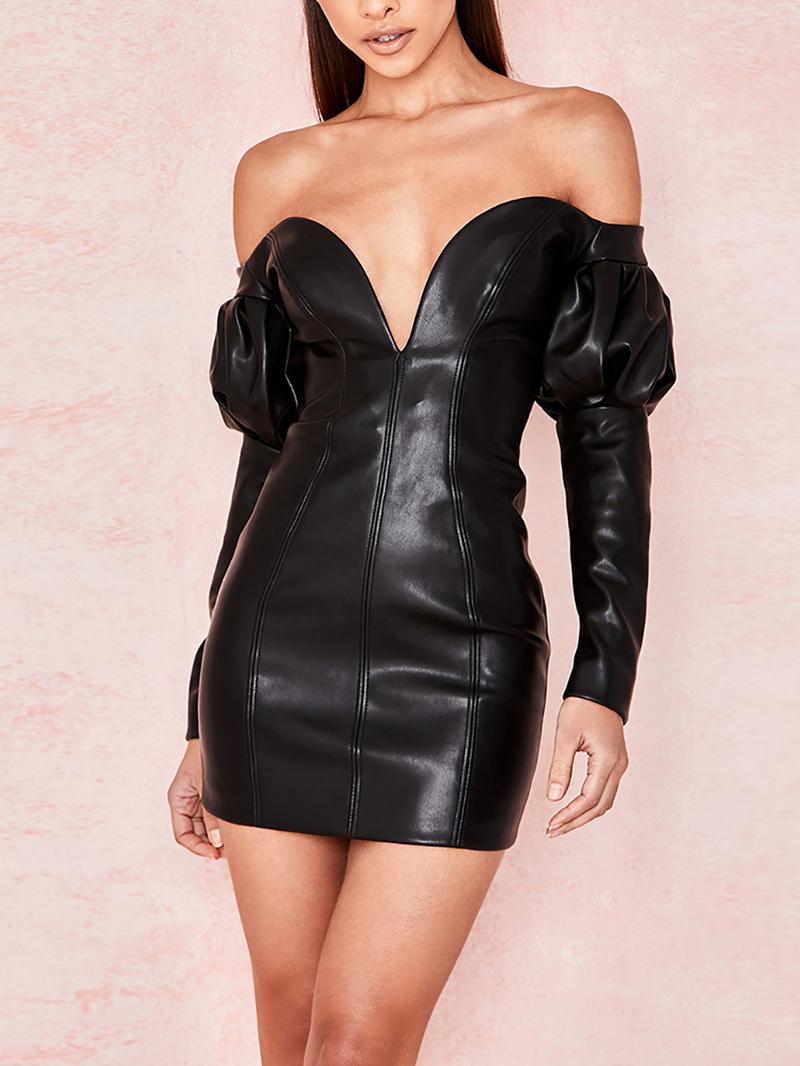 Hot Sale Sexy V Neck Solid Black Strapless Dress