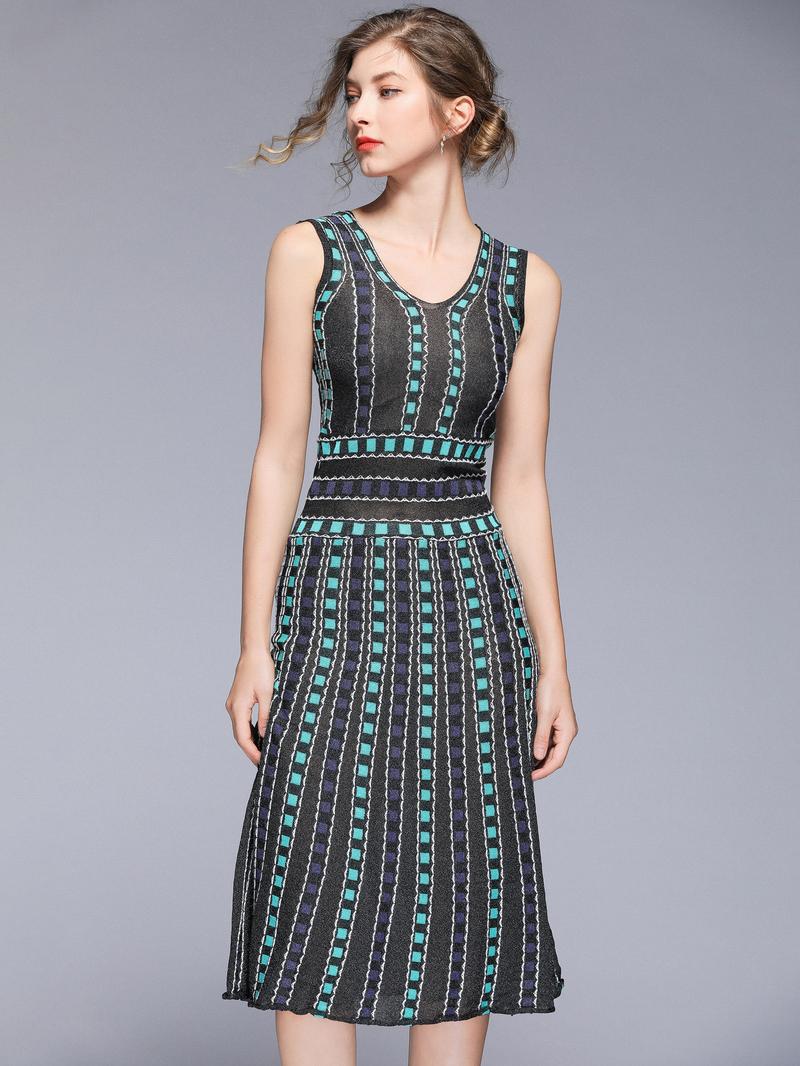 National Style V Neck Knit Sleeveless Dress