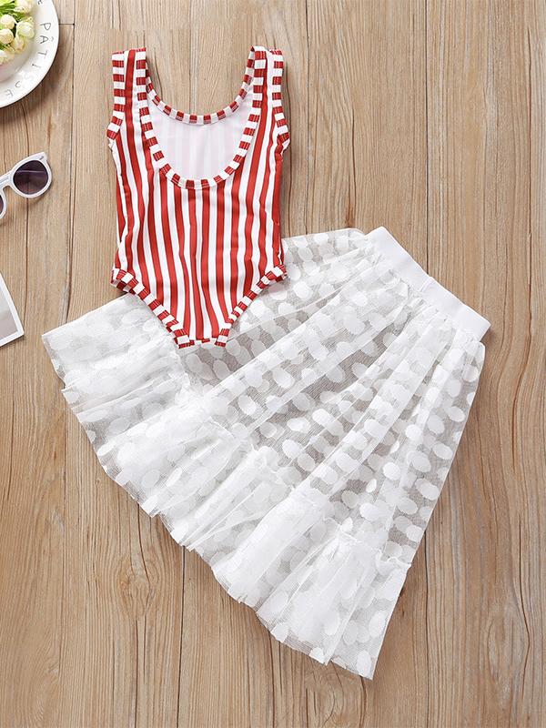 Striped Sleeveless Romper With Gauze Dot Skirt