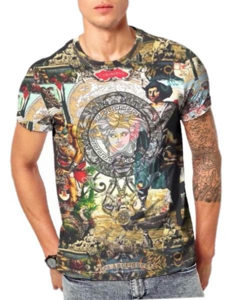 Crew Neck Paint Print T-shirt For Men