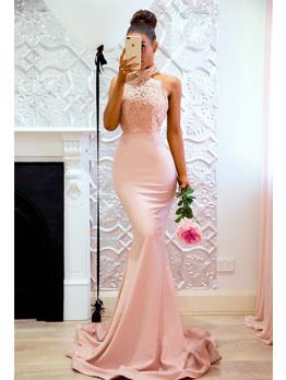 New Arrival Lace Patchwork Halter Floor Dresses