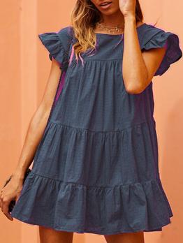 Euro Fashion Ruffled Loose Short Sleeve Dress