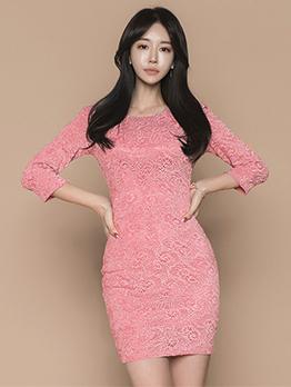 Lace Binding Bow Blush Bodycon Dress
