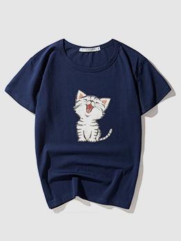 Summer Cartoon Cat Printed Short Sleeve Tee