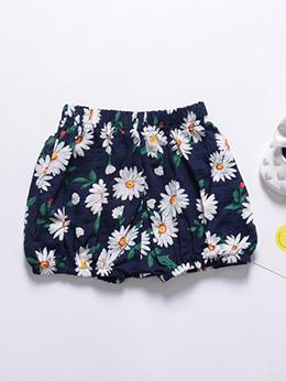 Summer Flower Loose Shorts For Girls