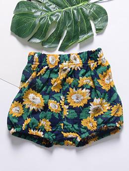 Casual Flower Elastic Girls Loose Shorts