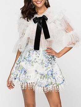 Embroidery High Waist A-Line Short Skirt