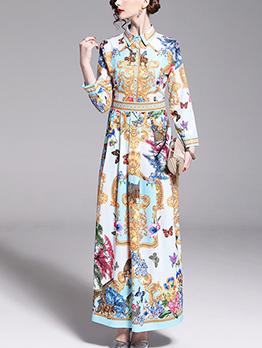 Printing Turndown Collar Long Sleeve Retro Dresses