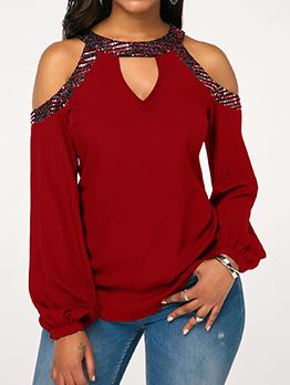 Off Shoulder Sequin Decor Long Sleeve T-Shirt