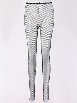 Hot Sale Hollow Out Diamond Black Women Pants