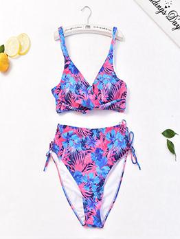 Chic Printed Lace Up High Waist Blue Bikini