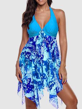 Sexy Printed V-Neck Ruffles Halter Women Swimwear