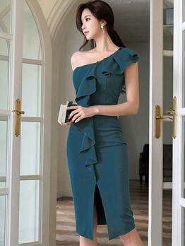Inclined Shoulder Ruffled Sleeveless Bodycon Dress