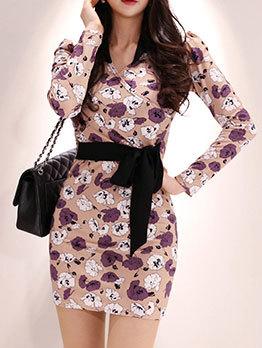 V Neck Tie-Wrap Floral Long Sleeve Dress