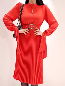 Korean Design Pleated Binding Red Long Sleeve Dresses