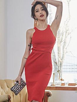 Crew Neck Smart Waisted Red Knit Sleeveless Dress