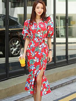 Tie-wrap V Neck Slit Floral Dresses