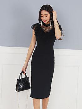 Hot Sale Gauze Patchwork Black Bodycon Dress