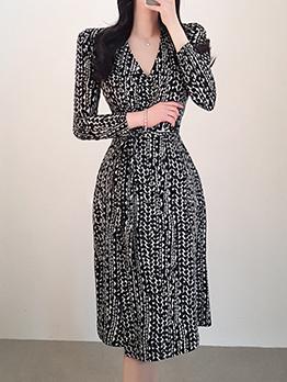 Heart Printed V Neck Tie-wrap Women Dresses