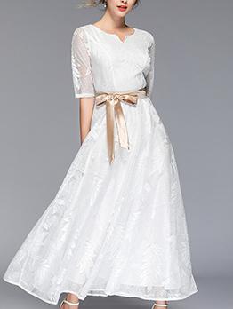 V-Neck Binding Bow Lace White Maxi Dresses