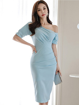 Inclined Shoulder Solid Color Bodycon Dress