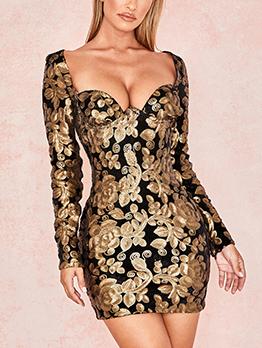 Sexy V Neck Long Sleeve Sequin Dress