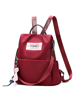 Slogan Decor Oxford Solid Backpack For Women