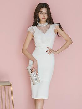Fashionable Gauze Patchwork Stand Neck Slim Dresses