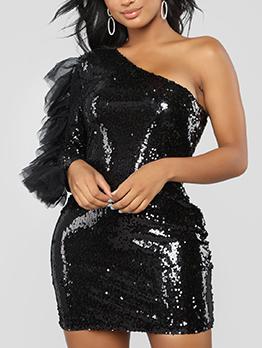 Inclined Shoulder Patchwork Trendy Sequin Dress