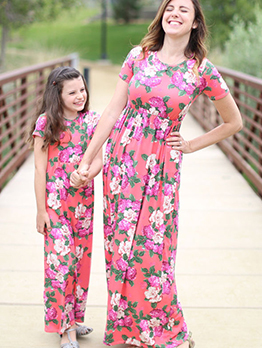 Summer Flower Crew Neck Maxi Dress Family Sets
