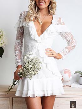 Elegant Deep V Neck Ruffled Hem Lace Dress