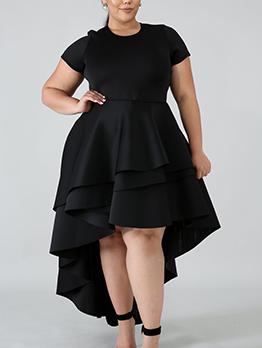 Solid Ruffled Irregular Hem Short Sleeve Maxi Dress
