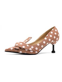 Fashionable Polka Dots Kitten Heel Women Flats