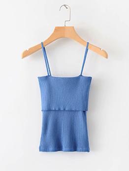 Minimalist Straps Lamination Knitting Camisoles