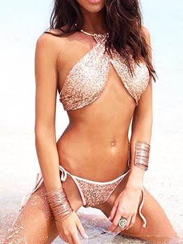 Euro Sequined Halter Lace Up Sexy Bikini